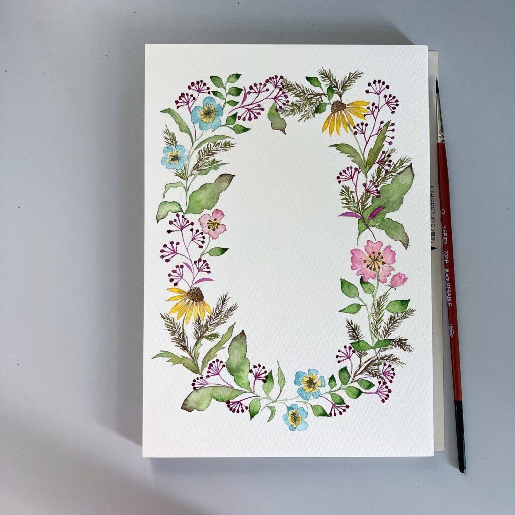 illustration vintage botanical frame