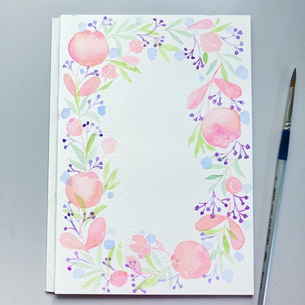 illustration pink flower frame