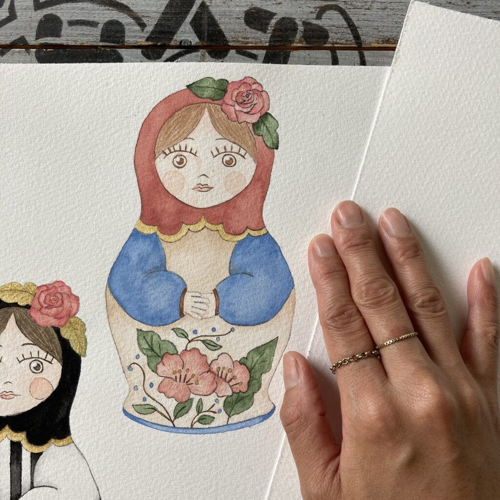 illustration matryoshka pink