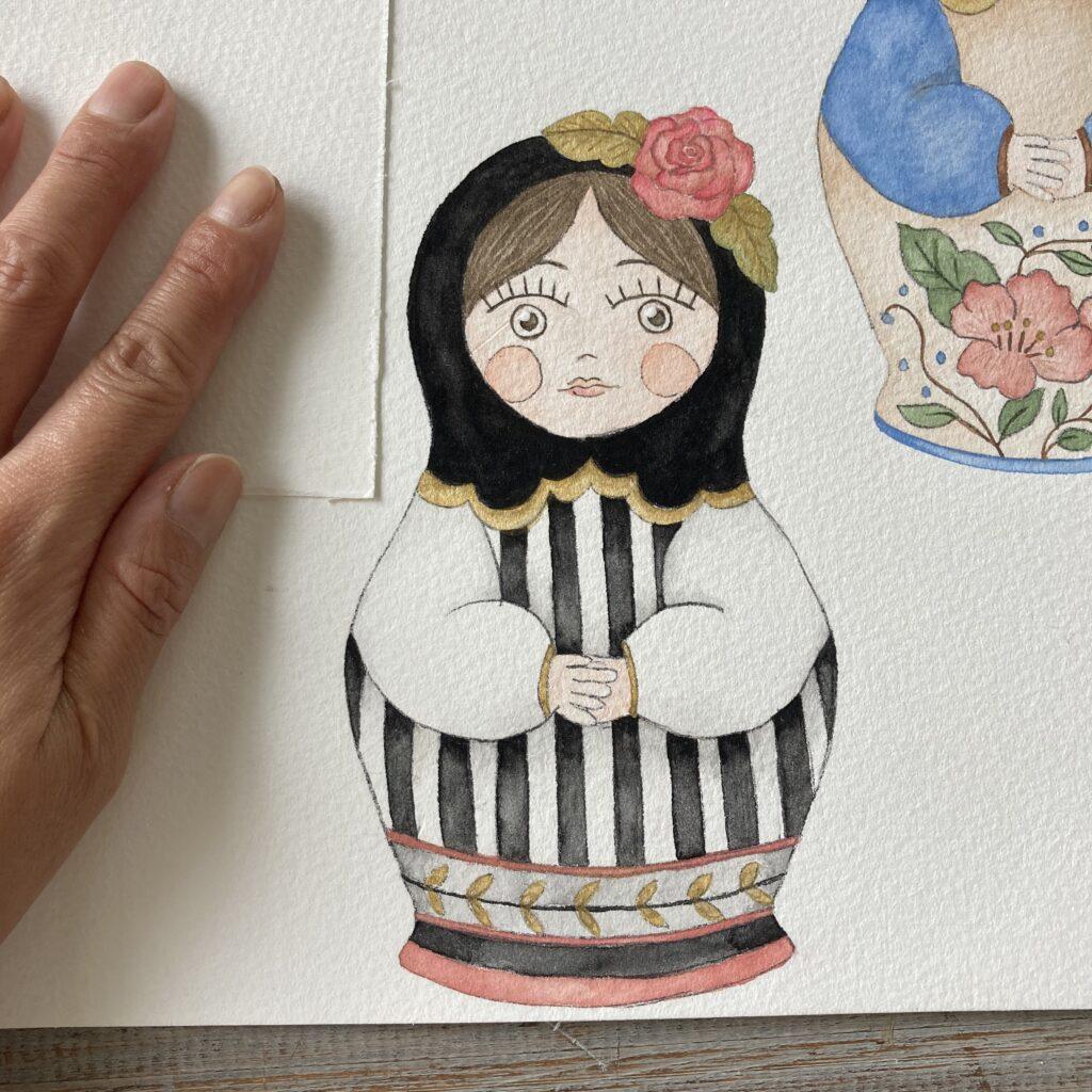 illustration matryoshka black