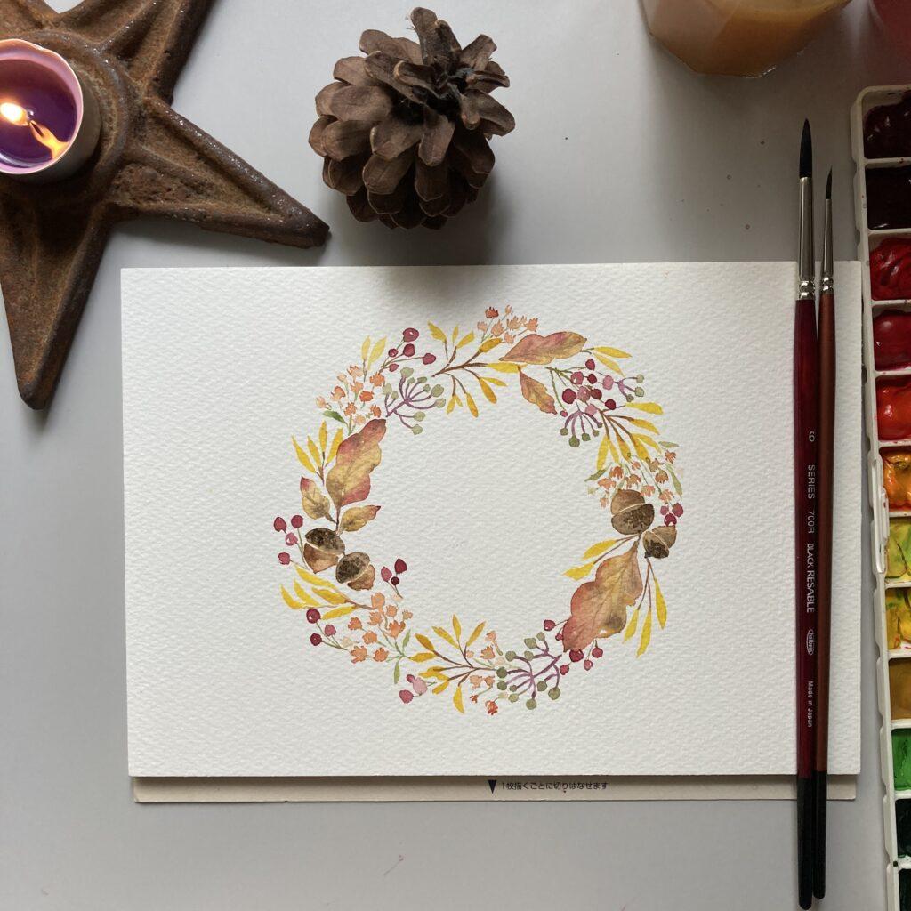 illustration autmun wreath